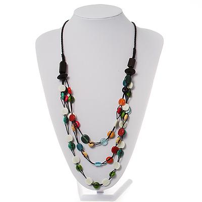 3 Strand Multicoloured Bead Leather Cord Necklace - 68cm L