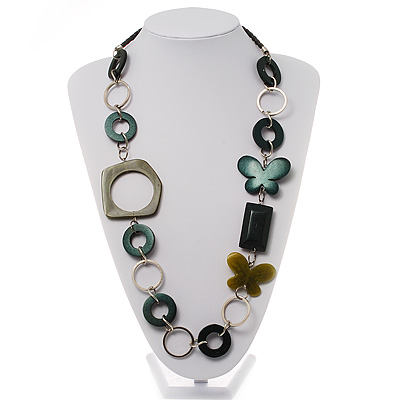 Green & Teal Butterfly Link Leather Style Necklace (Silver Tone)