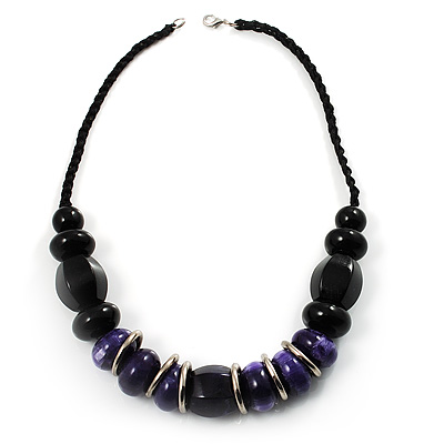 Stylish Chunky Polished Wood Bead Cotton Cord Necklace (Black &amp; Purple)