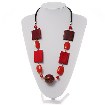 Oval, Square &amp; Round Bead Leather Style Cord Necklace (Red, Orange &amp; Balck)