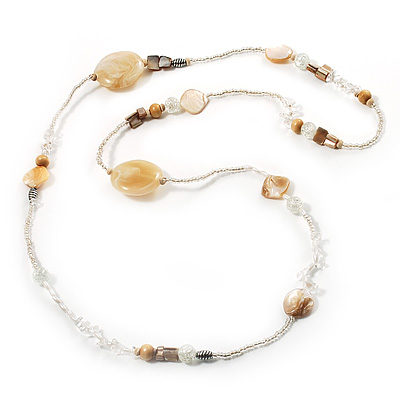 Long Exquisite Glass & Shell Bead Necklace (Antique & Transparent White) - 96cm Length