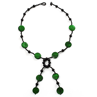 Glass & Shell Bead Tassel Necklace (Bright Green & Black)