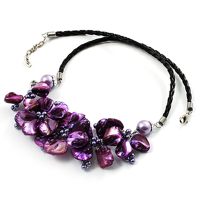 Purple Shell-Composite Leather Cord Necklace - main view