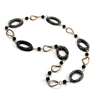 Contemporary Metal & Resin Link Necklace (Black & Bronze)