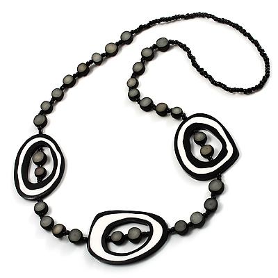 Long Black & White Perspex Geometric Necklace