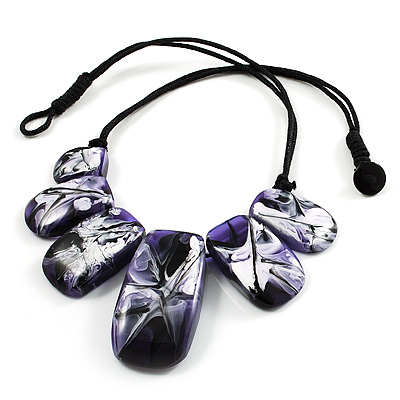 Purple Resin Nugget Satin Cord Necklace