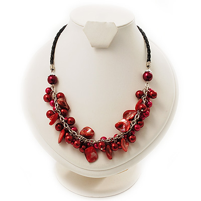 Bright Red Shell Composite Charm Leather Style Necklace (Silver Tone)
