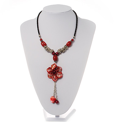 Coral Red Shell Composite Floral Tassel Leather Cord Necklace