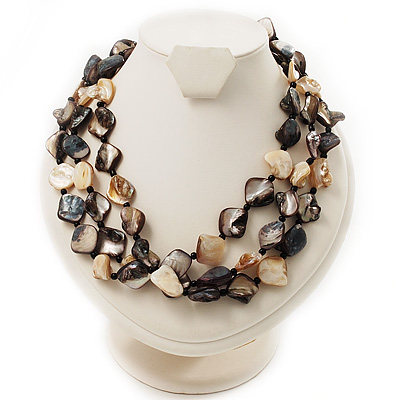 3 Strand Antique White & Black Shell - Composite Bead Necklace