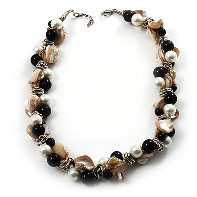 Exquisite Faux Pearl & Shell Composite Silver Tone Link Necklace (Antique White & Black) - main view