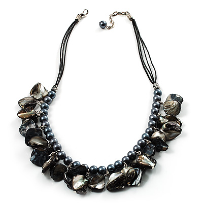 Black Pearl &amp; Shell Bead Cord Necklace (Silver Tone)