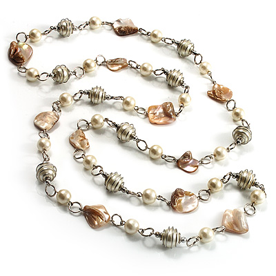 Long Shell Composite & Pearl Style Bead Silver Tone Necklace (110cm)