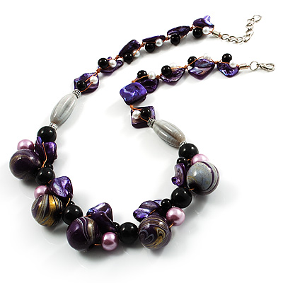 Purple Shell, Wood &amp; Pearl Bead Cluster Necklace