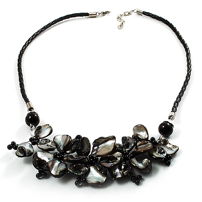 Slate Black Shell-Composite Leather Cord Necklace