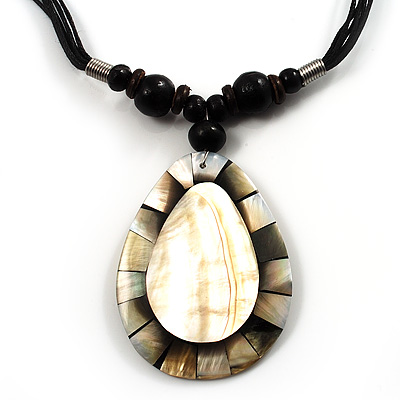 Teardrop Mother-Of-Pearl Cotton Cord Pendant Necklace