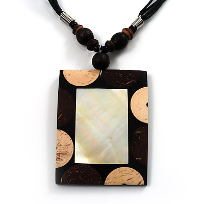 Square Mother-Of-Pearl Cotton Cord Pendant Necklace
