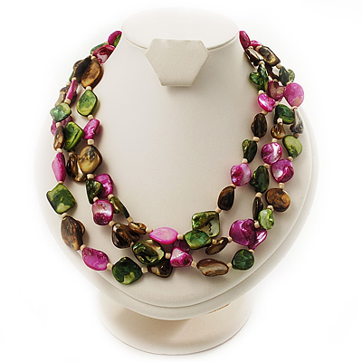 3 Strand Multicoloured - Composite Bead Necklace