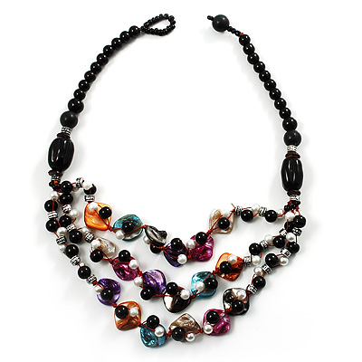 3 Strand Multicoloured Shell & Bead Necklace - main view