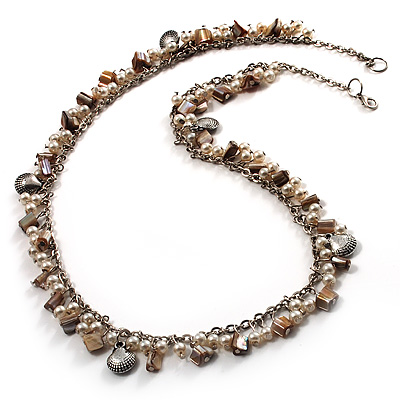 Antique White Bead & Shell Long Necklace (Burn Silver Tone) - main view
