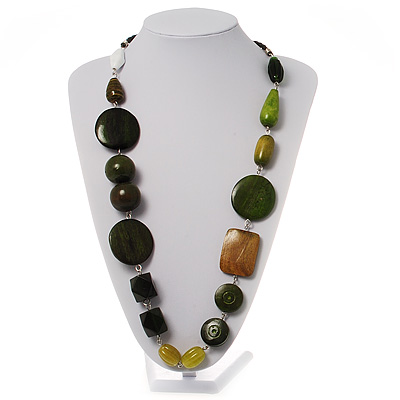 Olive Green Wood Bead Leather Style Cord Necklace