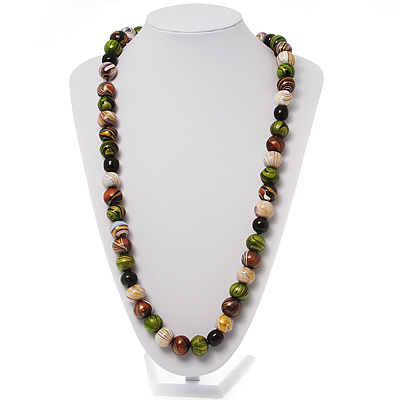 Wood Bead Necklace (White, Brown, Green &amp; Black) - 66cm Length