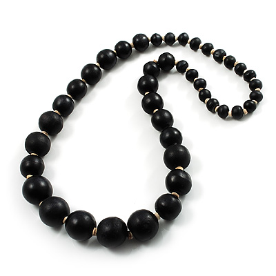 Black Wooden Bead Necklace - 66cm Length