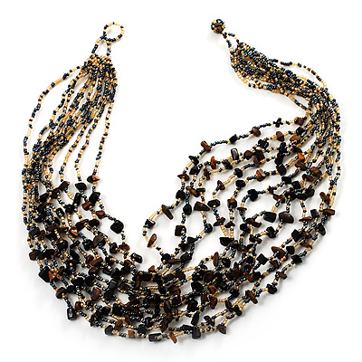 Multistrand Glass &amp; Semiprecious Bead Necklace (Black &amp; Light Brown)