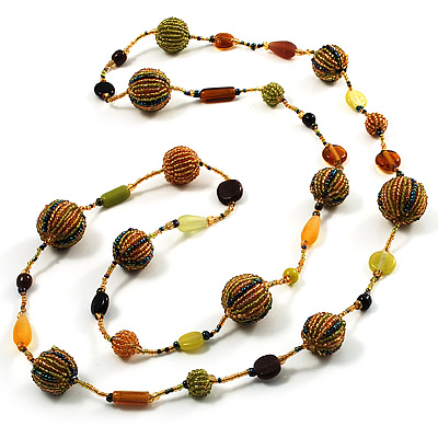 Long Lemon Green & Yellow Glass Bead Fashion Necklace - 116cm Length