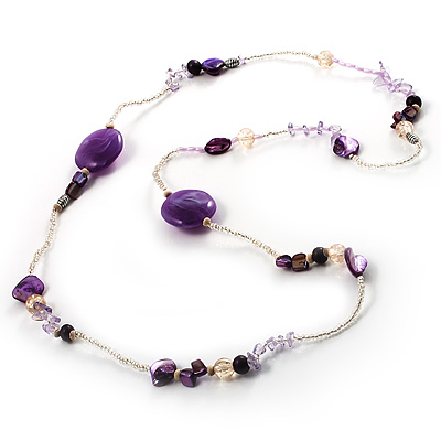 Long Exquisite Glass & Shell Bead Necklace (Purple & Beige)