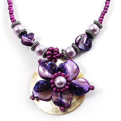 Purple &amp; Magenta Glass, Shell &amp; Mother Of Pearl Floral Choker Necklace (Silver Tone)
