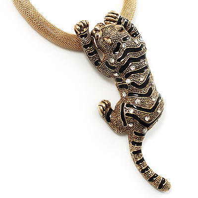 Gold Crystal Enamel 'Tiger' Mesh Magnetic Pendant Necklace