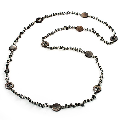 Long Ash Grey Shell & Nugget Bead Necklace - 125cm Length