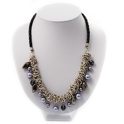 Silver Tone Link Charm Leather Style Necklace (Black & Lilac) - main view