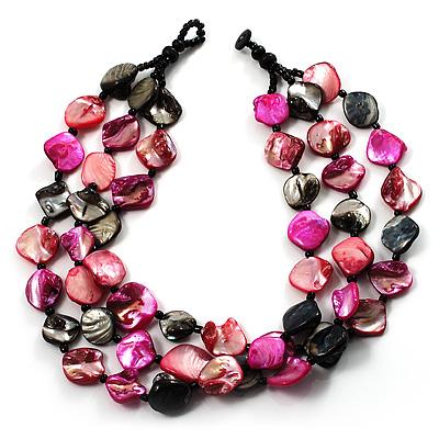 3 Strand Black & Magenta Shell - Composite Bead Necklace