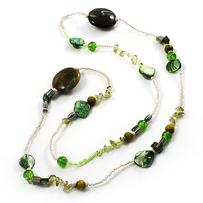 Long Exquisite Glass &amp; Shell Bead Necklace (Grass Green &amp; Olive Green) - 96cm Length