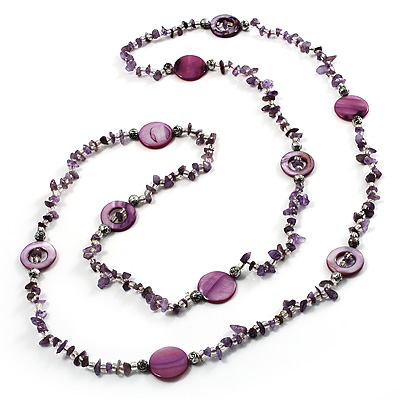 Long Lilac Shell & Nugget Bead Necklace - 125cm Length