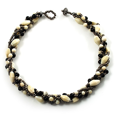 4 Strand Twisted Glass And Ceramic Choker Necklace (Black, White &amp; Metallic Silver)