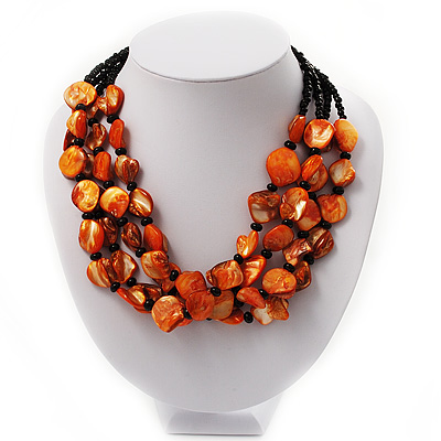 3 Strand Orange & Black Shell - Composite Bead Necklace