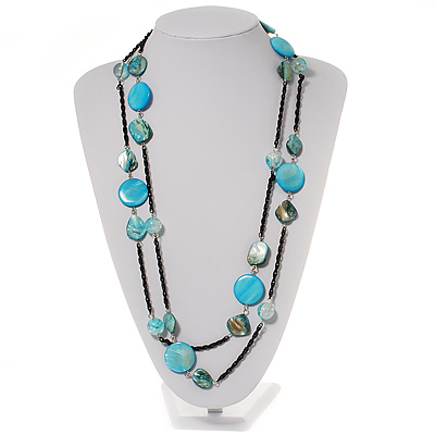 Long Light Blue Shell Bead Gun Metal Necklace - 150cm Length