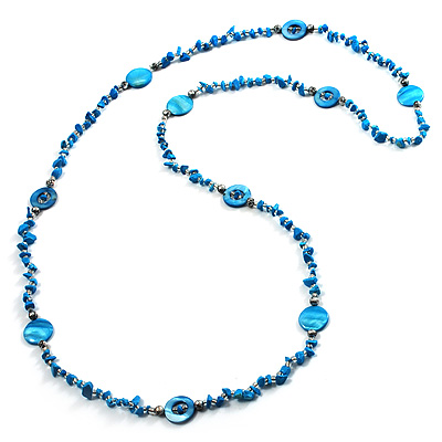 Long Blue Shell &amp; Nugget Bead Necklace (125cm)