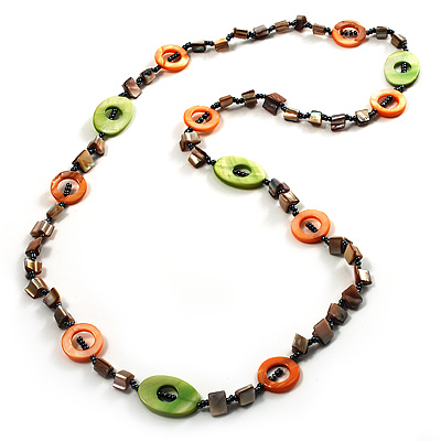 Beige, Orange & Light Green Long Shell Necklace