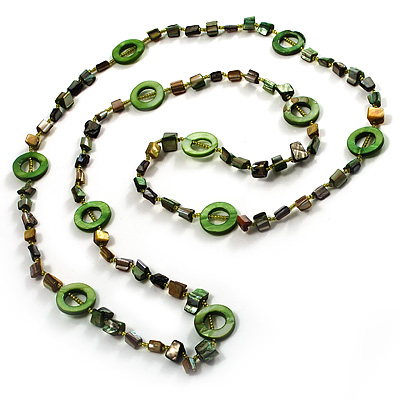 Green & Olive Long Shell Necklace (116cm)