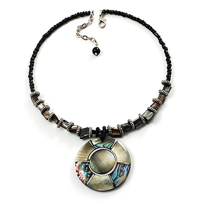 Jet Black Glass, Shell &amp; Mother Of Pearl Medallion Choker Necklace (Silver Tone)