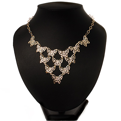 Gold Tone Butterfly Bib Necklace