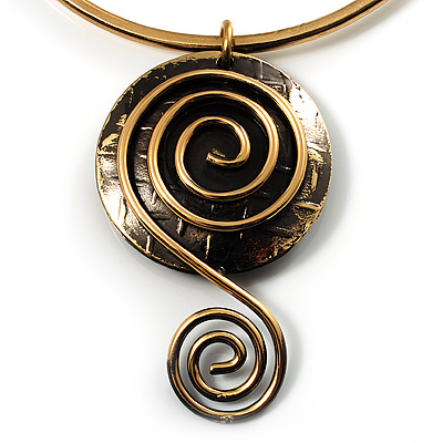 Spiral Enlightenment Brass Choker Necklace