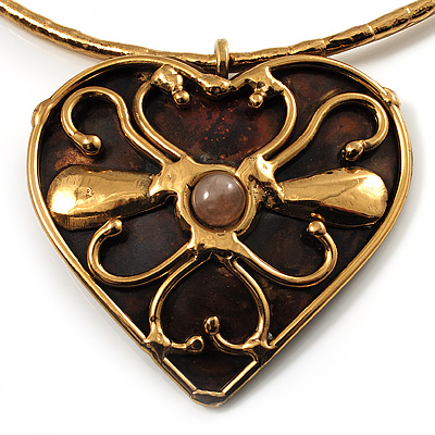 Flowering Heart Brass Choker Necklace - main view