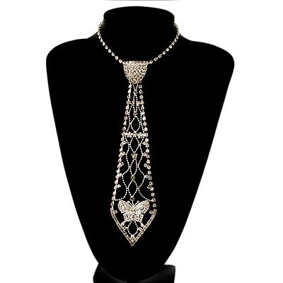 Long Austrian Crystal Butterfly Necktie (Silver Tone & Clear)