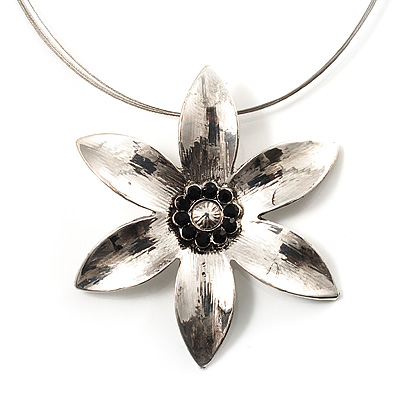 Rhodium Plated Daisy Pendant Wire Necklace - main view