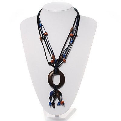 Wood &#039;O&#039; Shaped Pendant Suede Black &amp; Blue Cord Necklace - 50cm Length