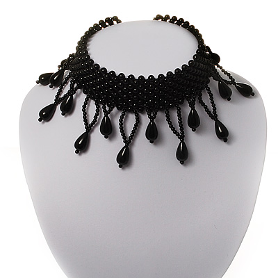 Black Charm Acrylic Bead Flex Choker